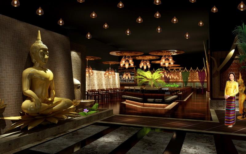 主入口主题装饰空间:  天灯,金佛,流水,把泰式元素有条理展示出来